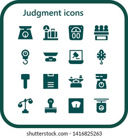 judgment icon set. 16 filled judgment icons.  Collection Of - Scale, Jury, Auction, Mallet, Scales