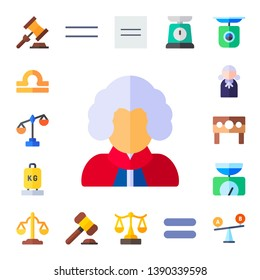 judgment icon set. 17 flat judgment icons.  Collection Of - auction, libra, scale, judge, punishment, balance, equality, equal, comparison