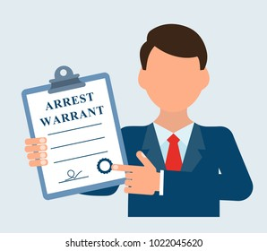 The judicial executor, holds a document in his hand. Arrest warrant.