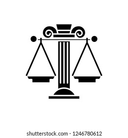 Judicial system black icon, vector sign on isolated background. Judicial system concept symbol, illustration
