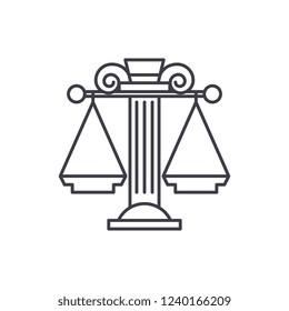Judicial system line icon concept. Judicial system vector linear illustration, symbol, sign