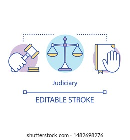 Judiciary concept icon. Law idea thin line illustration. National court of judicial system. Application of laws and rights on local and national level. Vector isolated outline drawing. Editable stroke
