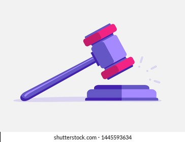 Judje hammer icon law gavel. Auction court hammer bid authority concept symbol.