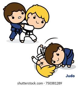 Judo Cartoon Vector illustration isolated on white background