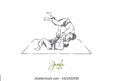 Judo, eastern martial arts, karate sparring, fighting competition, championship match, self defence exercise. Single combat practice, sport training concept sketch. Hand drawn vector illustration