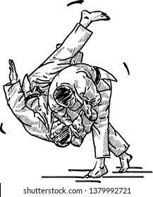 A Judo exponent throwing his opponent to the mat. Hand drawn vector illustration.