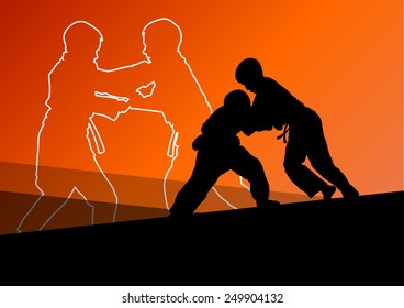 Judo fight active young boy martial arts sport silhouettes abstract background illustration vector