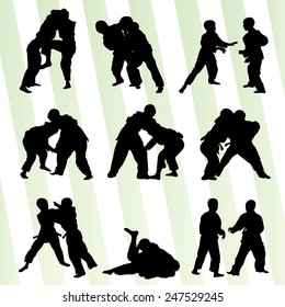 Judo fight boy set vector background concept