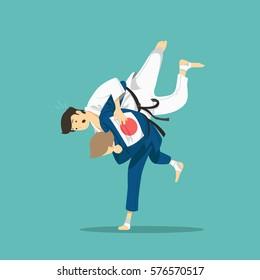 Judo fight. Vector illustration.