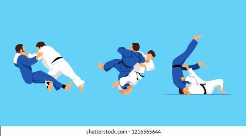 Judo fight. Vector illustration. set