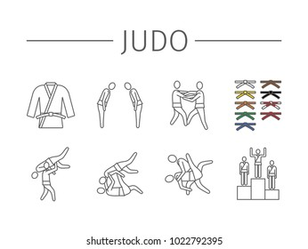 Judo fighters line icons. Vector sports signs.