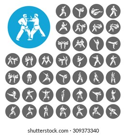 Judo icons set. Illustration EPS10