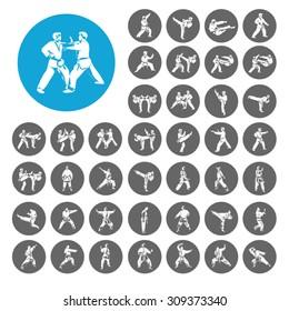 Judo icons set. Illustration EPS10