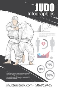judo infographic vector. hand drawn illustration of judo