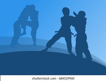 Judo kid martial art fight vector abstratc background