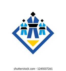 Judo sign. Wrestling logo. Two young judokas and a coach stand on the tatami at the competitions. Perfect for t-shirt, gym, packaging design, badge, cover, etc. Isolated on white background.