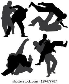 Judo Silhouette on white background