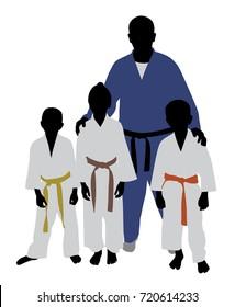Judo team. Judo trainer with kids.