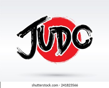 Judo text, brush, graphic vector.