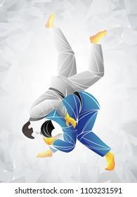 judo vector, stylized athlete