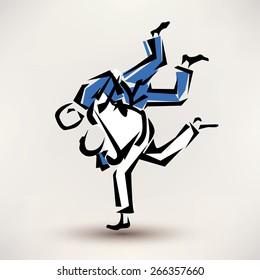 judo vector symbol, one wrestler throw another