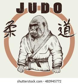 Judoka gorilla dressed in kimono. Hand drawn style.Label for judo.Japanese writing