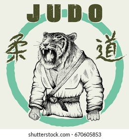 Judoka tiger dressed in kimono. Hand drawn style.Vector poster for judo-Japanese wrestling.Prints design for t-shirts