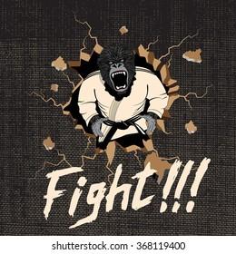 Judoka-gorilla hit a wall.Cartoon style.Vector illustration