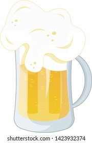 A jug of beer with a lot of foam