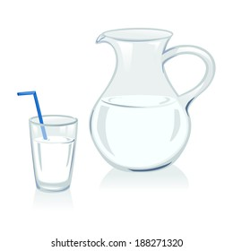jug and glass with milk. vector illustration