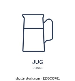 Jug icon. Jug linear symbol design from drinks collection. Simple outline element vector illustration on white background