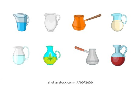 Jug icon set. Cartoon set of jug vector icons for web design isolated on white background