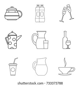 Jug icons set. Outline set of 9 jug vector icons for web isolated on white background