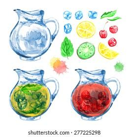 Jug and lemonade. Fresh juice. Vector watercolor. Isolated. Food background. Tea time. Fruits and berries. Ice. Cherry, lemon, kiwi.