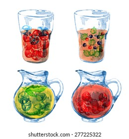 Jug and lemonade. Fresh juice. Vector watercolor. Isolated. Food background. Tea time. Berries. Cherry, gooseberries, currants, mint.