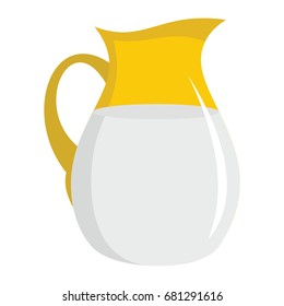 Jug of milk flat cartoon icon. Milk vector illustration for design and web isolated on white background.