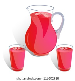 jug and two glasses of juice isolated on white