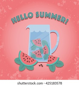 Jug of watermelon and mint infused water. 'Hello Summer' poster in vintage style. Vector illustration.