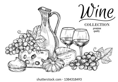 Jug of wine, cheese, sweets and glasses sketch vector background. Drink alcohol in wineglass, winery quality illustration