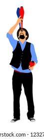 Juggler artist vector illustration, Juggling with pins. Clown circus jugging performs skill. Children birthday animator. Carnival attraction. Street performer acrobat public entertainment. Man skills