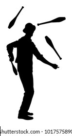 Juggler artist vector silhouette, Juggling with pins. Clown in circus jugging performs skill. Children birthday animator. Carnival attraction. Street performer acrobat public entertainment. Man skills