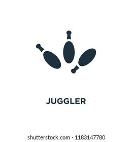 Juggler icon. Black filled vector illustration. Juggler symbol on white background. Can be used in web and mobile.
