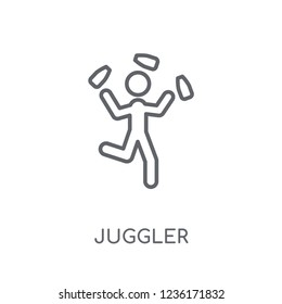 Juggler linear icon. Modern outline Juggler logo concept on white background from Circus collection. Suitable for use on web apps, mobile apps and print media.