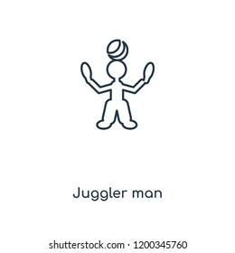 Juggler man concept line icon. Linear Juggler man concept outline symbol design. This simple element illustration can be used for web and mobile UI/UX.