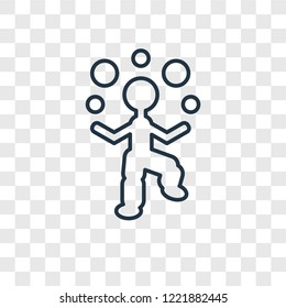 Juggler man concept vector linear icon isolated on transparent background, Juggler man concept transparency concept in outline style