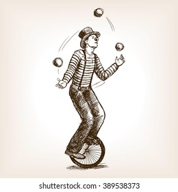 Juggler man on retro vintage old unicycle sketch style vector illustration. Old hand drawn engraving imitation. Juggler circus on a unicycle