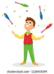 Juggler performs a circus trick.Artist throws up maces.Circus performer.Vector illustration. Cartoon flat style.