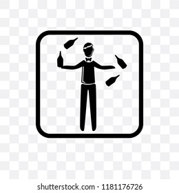 Juggler vector icon isolated on transparent background, Juggler logo concept