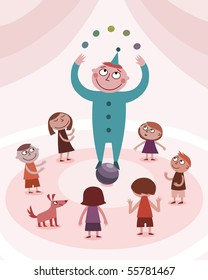 Juggling boy and kids - vector