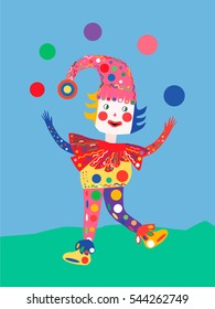 a juggling clown on the nature